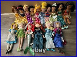 LOT of 16 Disney Plush Princess Dolls 21 Rapunzel Ariel & MORE RARE SHIP NOW