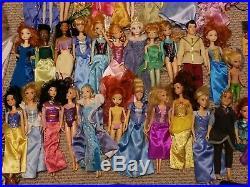 Large Huge Lot of 47 Dolls of Mattel Barbie and Disney Princesses with Dresses