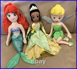 Lot 10 Disney Store Princess 20 /12 Plush Dolls Frozen Tinkerbell Merida Ariel