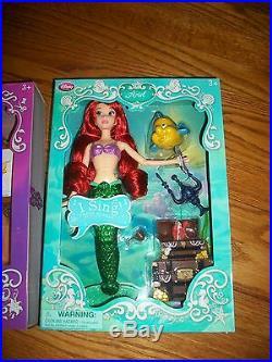 Lot 2 Disney Ariel & Rapunzel Deluxe Talking Doll Set Singing Tangled Size 11