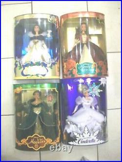 Lot 4 Disney Holiday Princess Cinderella Belle Jasmine & Snow White Dolls