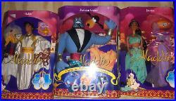 Lot of 3 1992 Walt Disney Aladdin Princess JASMINE, Aladdin and Genie Dolls Rare