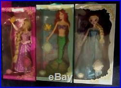 Lot of 3 Disney Deluxe Singing Ariel Doll Little Mermaid 16 Rapunzel Elsa