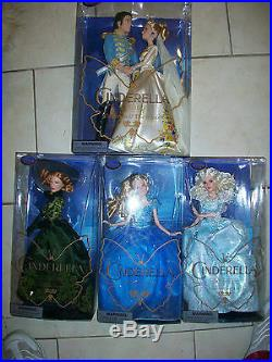 Lot of all 4 Disney Store Film Collection Cinderella Live Action Dolls