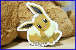 New Big Fluffy Eevee Plush Doll Japan Pokemon Center Stuffed Toy With Traching #