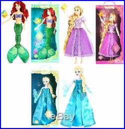 New Disney Store Deluxe Light Up Singing Princess Dolls Ariel Rapunzel Elsa 16