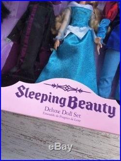 New Disney Store Sleeping Beauty Aurora Phillip Maleficent Deluxe Doll Gift Set