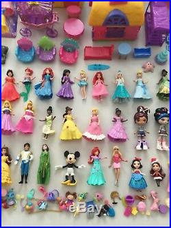 Polly Pocket Disney Princess MagiClip Dolls Playset HUGE Clothes Lot