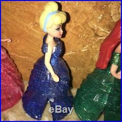 Polly Pocket Disney Princesses MagiClip Glitter Glider Magic Clip Dolls Lot Of 6