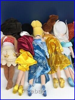 Used LOT 11 Disney Princess Plush Doll Toys Belle Cinderella Moana Snow White