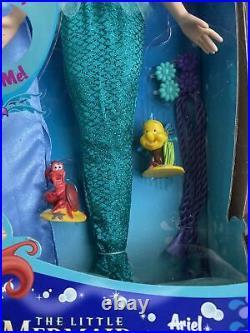 Very Rare Disney Store Ariel THE LITTLE MERMAID 17 singing Doll playset NRFB