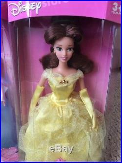 Vintage Disney Store Princess lot 8 dolls Belle Aurora Ariel Esmeralda